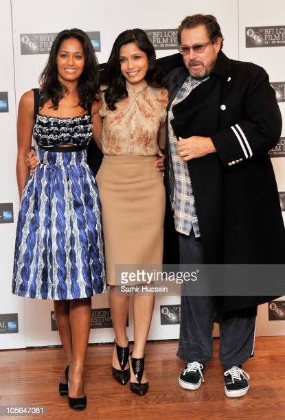 Writer Rula Jebreal actress Freida Pinto and director Julian Schnabel attend the 'Miral' photocall during the 54th BFI London Film Festival at the...