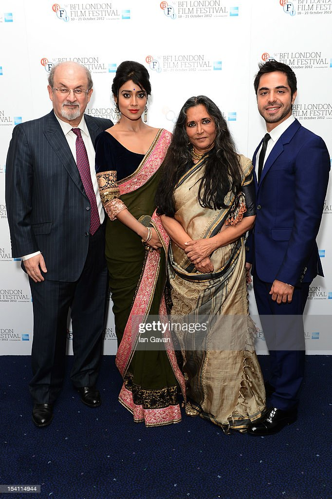 Writer Salman Rushdie actress Shriya Saran filmmaker Deepa Mehta and actor Satya Bhadha attend the premiere of 'Midnight's Children' during the 56th...