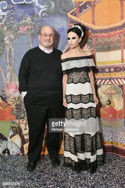 Writer Salman Rushdie and designer Stacey Bendet attend the alice olivia by Stacey Bendet Fall 2017 Presentation at Highline Stages on February 14...