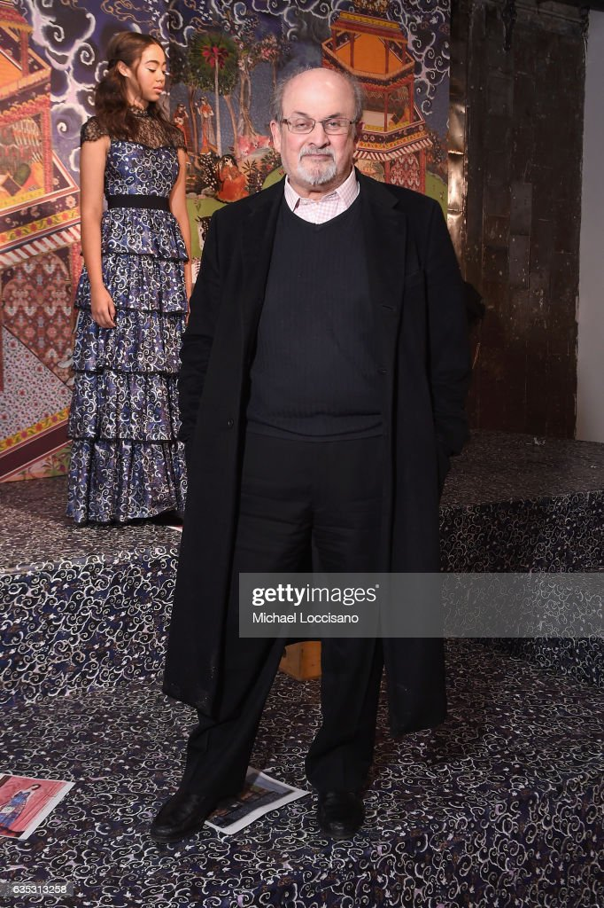 Writer Salman Rushdie attends the alice + olivia by Stacey Bendet Fall 2017 Presentation at Highline Stages on February 14, 2017 in New York City.