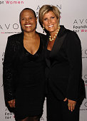 Writer Sapphire and TV Personality Suze Orman walk the red carpet during the 'Champions Who Change Women's Lives' celebration at Cipriani 42nd Street...