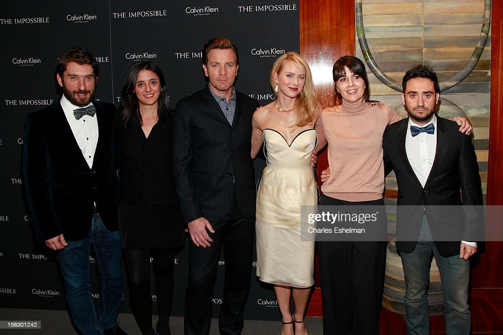Writer Sergio Sanchez, producer Belen Atienza, actors Ewan McGregor and Naomi Watts, survivor Maria Belon and director J.A. Bayona attend 'The Impossible' screening at the Museum of Art and Design on December 12, 2012 in New York City.