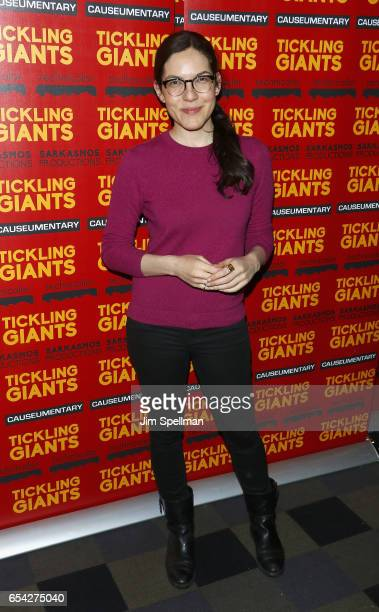Writer Sloane Crosley attends the 'Tickling Giants' New York premiere at IFC Center on March 16 2017 in New York City
