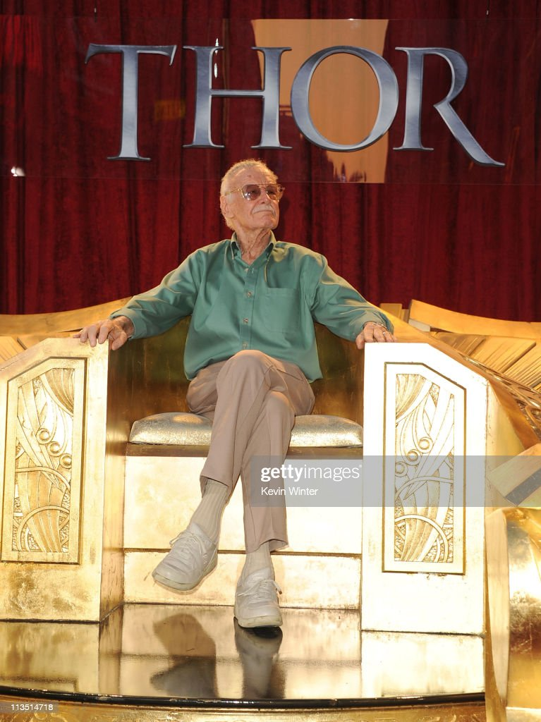 Writer <a gi-track='captionPersonalityLinkClicked' href=/galleries/search?phrase=Stan+Lee&family=editorial&specificpeople=206380 ng-click='$event.stopPropagation()'>Stan Lee</a> arives at the premiere of Paramount Pictures' and Marvel's 'Thor' held at the El Capitan Theatre on May 2, 2011 in Los Angeles, California.