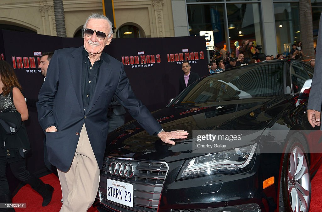 Writer <a gi-track='captionPersonalityLinkClicked' href=/galleries/search?phrase=Stan+Lee&family=editorial&specificpeople=206380 ng-click='$event.stopPropagation()'>Stan Lee</a> attends the U.S. Premiere of Marvel's Iron Man 3 hosted by Audi at the El Capitan Theatre on April 24, 2013 in Hollywood, California.