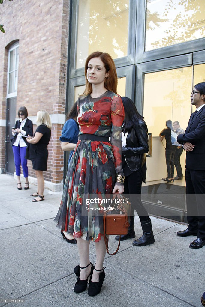 Writer Stephanie LaCava wearing a vintage Dolce & Gabanna dress, MiuMiu shoes and a Mark Cross bag arrives for the Theysken's Theory Showing at Center 548 in Manhattan during Spring 2012 Fashion Week on September 13, 2011 in New York City.