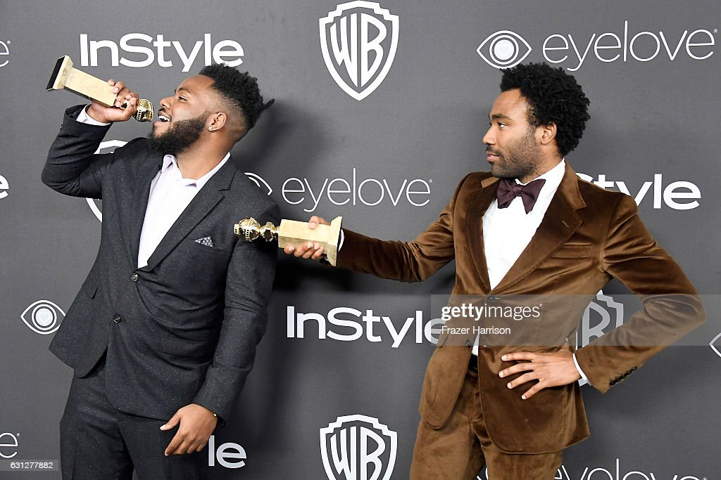 Writer Stephen Glover (L) and actor/writer Donald Glover, winners of Best Series - Musical or Comedy for 'Atlanta,' attend the 18th Annual Post-Golden Globes Party hosted by Warner Bros. Pictures and InStyle at The Beverly Hilton Hotel on January 8, 2017 in Beverly Hills, California.