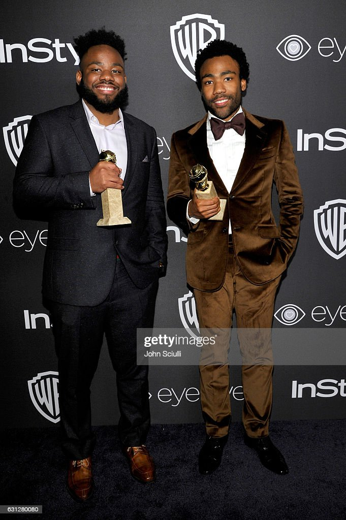 Writer Stephen Glover (L) and actor/writer Donald Glover, winners of Best Series - Musical or Comedy for 'Atlanta,' attend The 2017 InStyle and Warner Bros. 73rd Annual Golden Globe Awards Post-Party at The Beverly Hilton Hotel on January 8, 2017 in Beverly Hills, California.