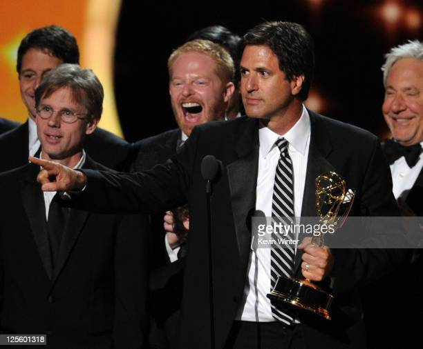 Writer Steven Levitan of 'Modern Family' accepts the Outstanding Comedy Series award onstage during the 63rd Annual Primetime Emmy Awards held at...