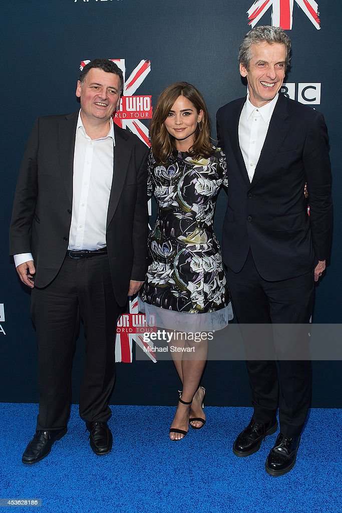 Writer <a gi-track='captionPersonalityLinkClicked' href=/galleries/search?phrase=Steven+Moffat&family=editorial&specificpeople=4404298 ng-click='$event.stopPropagation()'>Steven Moffat</a> with actors Jenna Coleman and <a gi-track='captionPersonalityLinkClicked' href=/galleries/search?phrase=Peter+Capaldi&family=editorial&specificpeople=639349 ng-click='$event.stopPropagation()'>Peter Capaldi</a> attend BBC America's 'Doctor Who' Premiere Fan Screening at Ziegfeld Theater on August 14, 2014 in New York City.