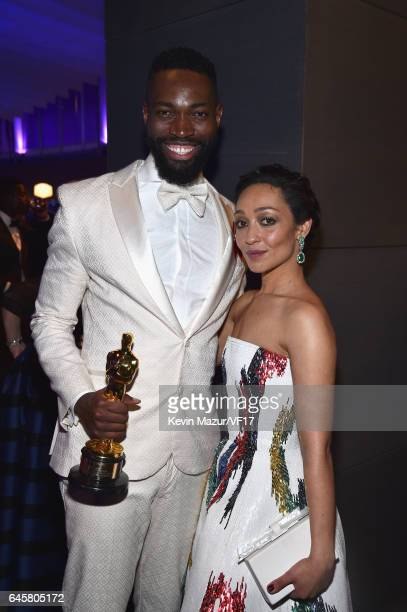 Writer Tarell Alvin McCraney and actor Ruth Negga attend the 2017 Vanity Fair Oscar Party hosted by Graydon Carter at Wallis Annenberg Center for the...