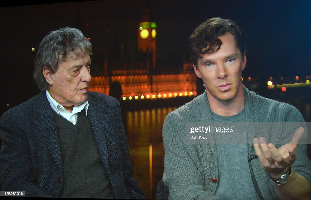 Writer <a gi-track='captionPersonalityLinkClicked' href=/galleries/search?phrase=Tom+Stoppard&family=editorial&specificpeople=241296 ng-click='$event.stopPropagation()'>Tom Stoppard</a> and actor Benedict Cumerbatch speak during the HBO Winter 2013 TCA Panel at The Langham Huntington Hotel and Spa on January 4, 2013 in Pasadena, California.