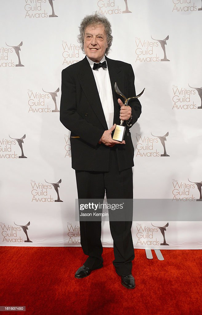 Writer <a gi-track='captionPersonalityLinkClicked' href=/galleries/search?phrase=Tom+Stoppard&family=editorial&specificpeople=241296 ng-click='$event.stopPropagation()'>Tom Stoppard</a> poses with The Laurel Award for Screen Writing Achievement in the press room during the 2013 WGAw Writers Guild Awards at JW Marriott Los Angeles at L.A. LIVE on February 17, 2013 in Los Angeles, California.