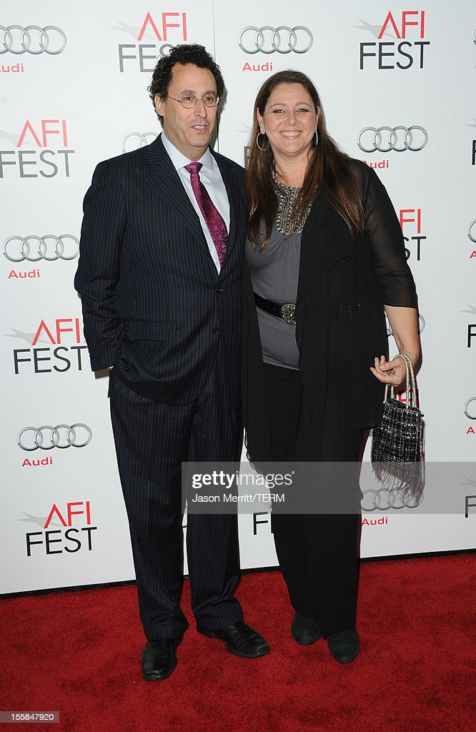 Writer <a gi-track='captionPersonalityLinkClicked' href=/galleries/search?phrase=Tony+Kushner&family=editorial&specificpeople=209161 ng-click='$event.stopPropagation()'>Tony Kushner</a> and actress <a gi-track='captionPersonalityLinkClicked' href=/galleries/search?phrase=Camryn+Manheim&family=editorial&specificpeople=204200 ng-click='$event.stopPropagation()'>Camryn Manheim</a> arrive at the 'Lincoln' premiere during AFI Fest 2012 presented by Audi at Grauman's Chinese Theatre on November 8, 2012 in Hollywood, California.