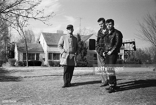 Writer Truman Capote with actors Scott Wilson and Robert Blake pose for a photo on location for the film In Cold Blood based on Capote's novel In the...