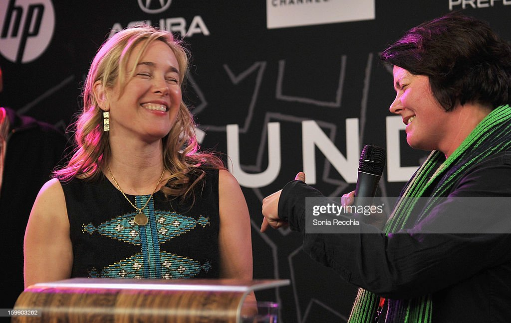 Writer Vendela Vida (L) and director Eva Weber speak onstage during the Sundance Institute Mahindra Global Filmmaking Award Reception at Sundance House on January 22, 2013 in Park City, Utah.