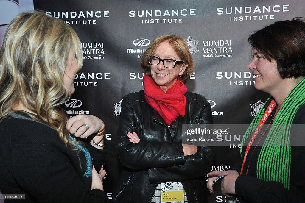 Writer Vendela Vida, producer Michelle Satter and director Eva Weber attend the Sundance Institute Mahindra Global Filmmaking Award Reception at Sundance House on January 22, 2013 in Park City, Utah.