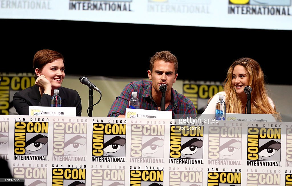 Writer Veronica Roth, actor <a gi-track='captionPersonalityLinkClicked' href=/galleries/search?phrase=Theo+James&family=editorial&specificpeople=7989783 ng-click='$event.stopPropagation()'>Theo James</a>, and actress <a gi-track='captionPersonalityLinkClicked' href=/galleries/search?phrase=Shailene+Woodley&family=editorial&specificpeople=676833 ng-click='$event.stopPropagation()'>Shailene Woodley</a> speak at the 'Divergent' panel during Comic-Con International 2013 at San Diego Convention Center on July 18, 2013 in San Diego, California.