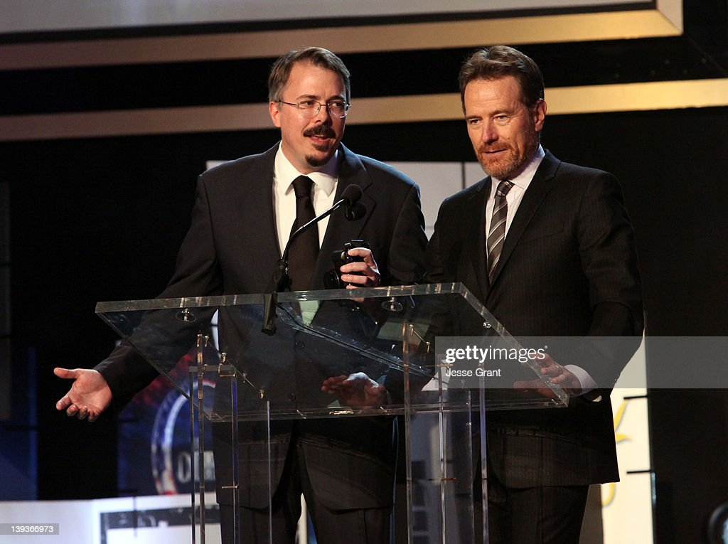 Writer Vince Gilligan (L) and actor <a gi-track='captionPersonalityLinkClicked' href=/galleries/search?phrase=Bryan+Cranston&family=editorial&specificpeople=217768 ng-click='$event.stopPropagation()'>Bryan Cranston</a> speak during the 2012 Writers Guild Awards at the Hollywood Palladium on February 19, 2012 in Los Angeles, California.