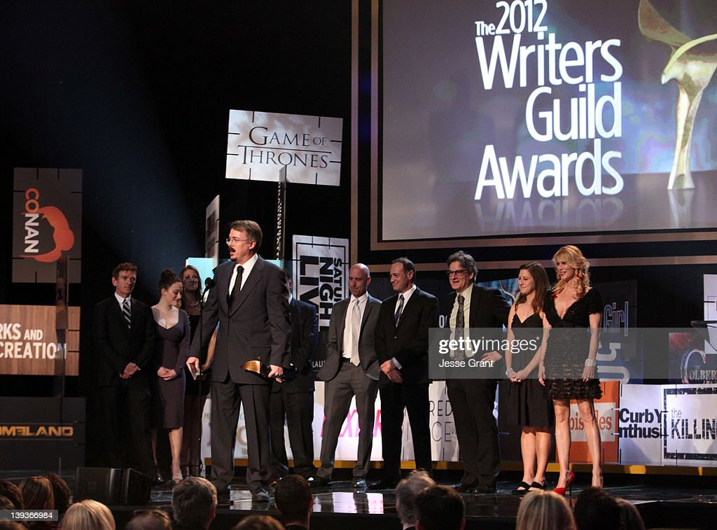 Writer Vince Gilligan and writers accept the Outstanding Writing in a Drama Series for 'Breaking Bad' onstage during the 2012 Writers Guild Awards at the Hollywood Palladium on February 19, 2012 in Los Angeles, California.