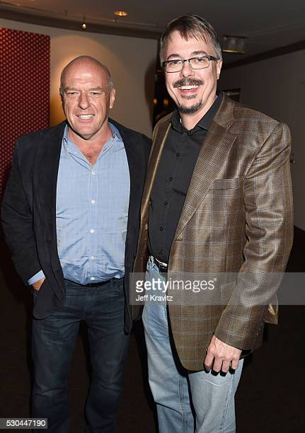 Writer Vince Gilligan right and actor Dean Norris attend the afterparty of the Premiere Of HBO's 'All The Way' on May 10 2016 in Hollywood California