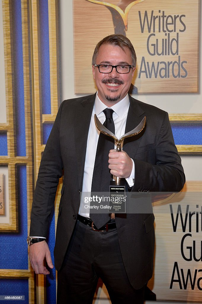 Writer Vince Gilligan winner of the 'Outstanding Drama Series' award for 'Breaking Bad' poses in the press room at the 2014 Writers Guild Awards LA...