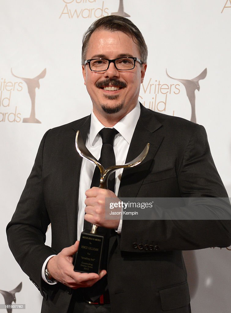 Writer <a gi-track='captionPersonalityLinkClicked' href=/galleries/search?phrase=Vince+Gilligan&family=editorial&specificpeople=4360133 ng-click='$event.stopPropagation()'>Vince Gilligan</a>, winner of the Writers Guild Award for Outstanding Drama Series poses in the press room during the 2013 WGAw Writers Guild Awards at JW Marriott Los Angeles at L.A. LIVE on February 17, 2013 in Los Angeles, California.