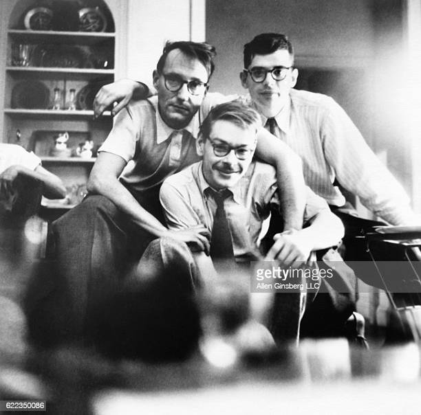 Writer William S Burroughs journalist Lucien Carr and poet Allen Ginsberg together in New York City