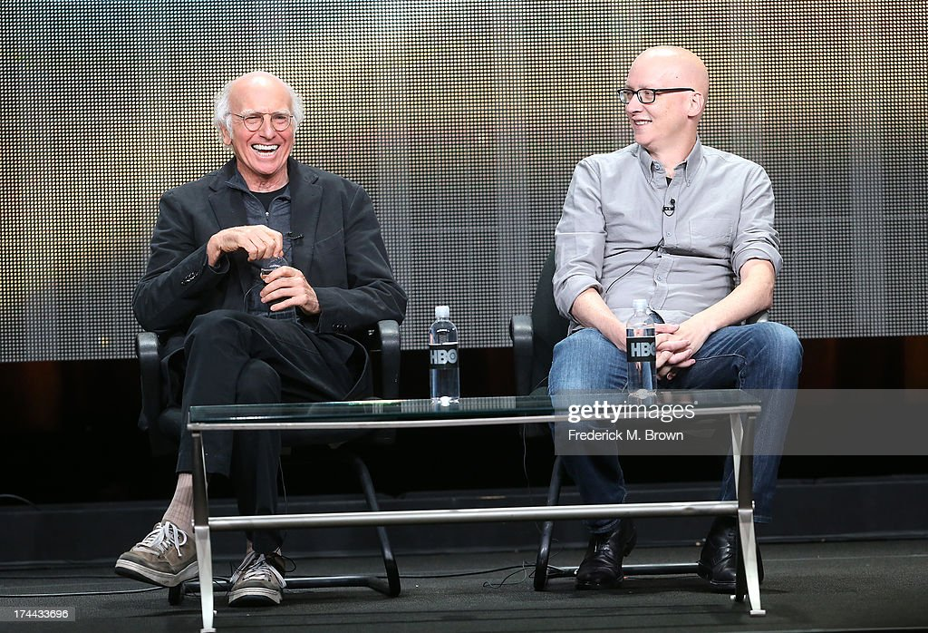 Writer/Actor <a gi-track='captionPersonalityLinkClicked' href=/galleries/search?phrase=Larry+David&family=editorial&specificpeople=125184 ng-click='$event.stopPropagation()'>Larry David</a> (L) and director <a gi-track='captionPersonalityLinkClicked' href=/galleries/search?phrase=Greg+Mottola&family=editorial&specificpeople=3759073 ng-click='$event.stopPropagation()'>Greg Mottola</a> speak onstage during the 'Clear History' panel discussion at the HBO portion of the 2013 Summer Television Critics Association tour - Day 2 at the Beverly Hilton Hotel on July 25, 2013 in Beverly Hills, California.