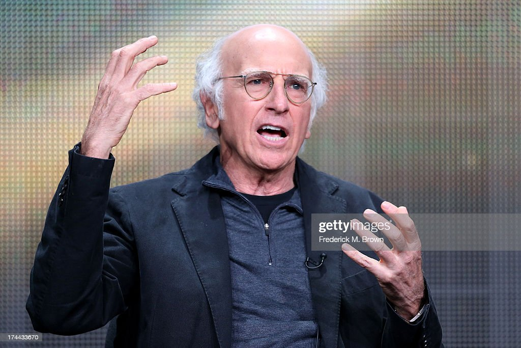 Writer/Actor <a gi-track='captionPersonalityLinkClicked' href=/galleries/search?phrase=Larry+David&family=editorial&specificpeople=125184 ng-click='$event.stopPropagation()'>Larry David</a> speaks onstage during the 'Clear History' panel discussion at the HBO portion of the 2013 Summer Television Critics Association tour - Day 2 at the Beverly Hilton Hotel on July 25, 2013 in Beverly Hills, California.