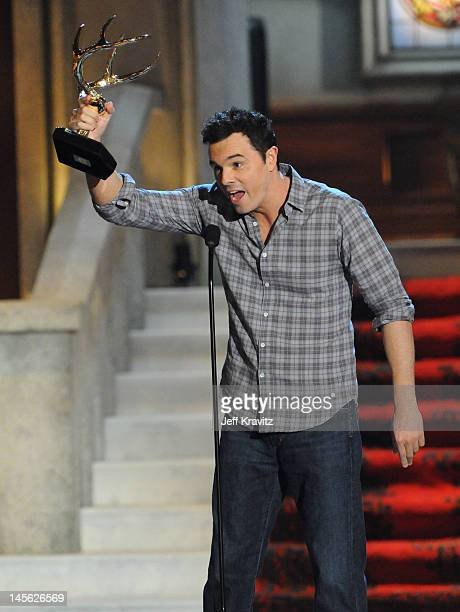 Writer/actor Seth MacFarlane accepts an award onstage at Spike TV's 6th Annual 'Guys Choice' Awards at Sony Studios on June 2 2012 in Los Angeles...