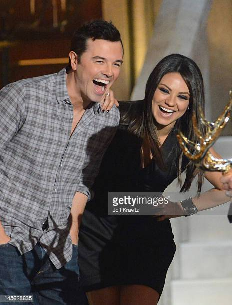 Writer/actor Seth MacFarlane and actress Mila Kunis speak onstage at Spike TV's 6th Annual 'Guys Choice' Awards at Sony Studios on June 2 2012 in Los...