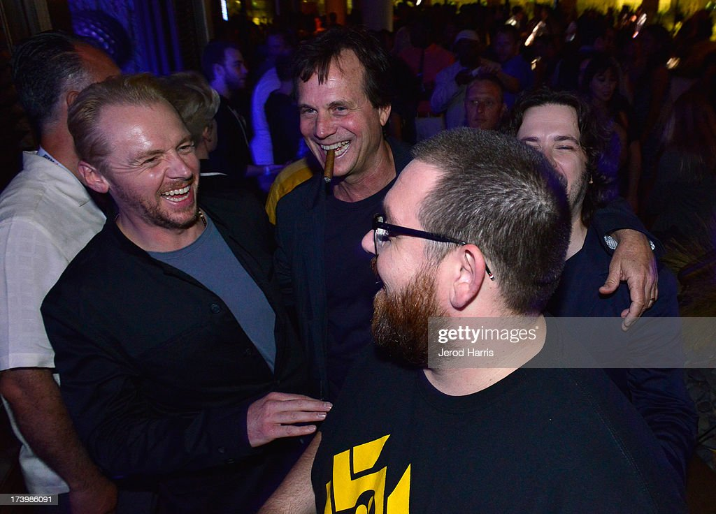 Writer/actor <a gi-track='captionPersonalityLinkClicked' href=/galleries/search?phrase=Simon+Pegg&family=editorial&specificpeople=206280 ng-click='$event.stopPropagation()'>Simon Pegg</a>, actor <a gi-track='captionPersonalityLinkClicked' href=/galleries/search?phrase=Bill+Paxton&family=editorial&specificpeople=241223 ng-click='$event.stopPropagation()'>Bill Paxton</a>, director/writer <a gi-track='captionPersonalityLinkClicked' href=/galleries/search?phrase=Edgar+Wright&family=editorial&specificpeople=2194043 ng-click='$event.stopPropagation()'>Edgar Wright</a> and actor Nick Frost attend IGN And Focus Features Comic-Con 2013 Party Presented By The World's End at Float at Hard Rock Hotel San Diego on July 18, 2013 in San Diego, California.