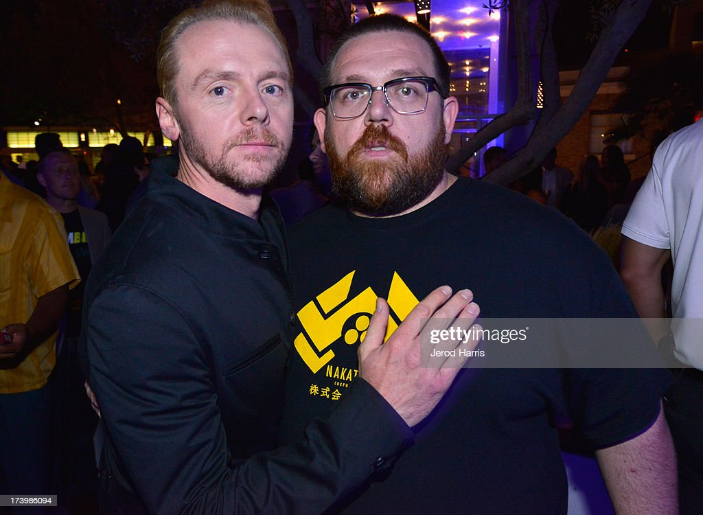 Writer/actor <a gi-track='captionPersonalityLinkClicked' href=/galleries/search?phrase=Simon+Pegg&family=editorial&specificpeople=206280 ng-click='$event.stopPropagation()'>Simon Pegg</a> (L) and actor Nick Frost attend IGN And Focus Features Comic-Con 2013 Party Presented By The World's End at Float at Hard Rock Hotel San Diego on July 18, 2013 in San Diego, California.