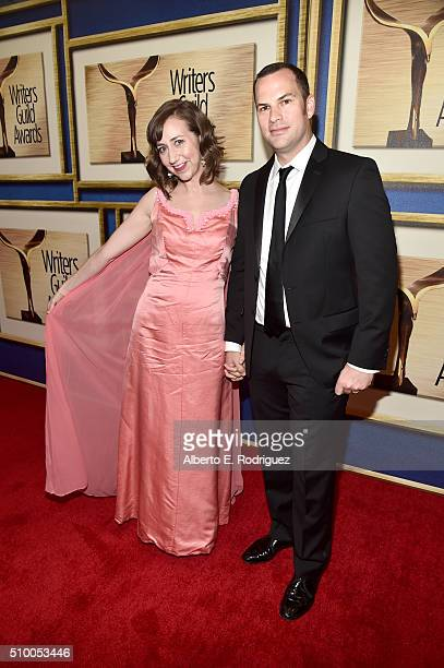 Writer/actress Kristen Schaal and writer Rich Blomquist attend the 2016 Writers Guild Awards at the Hyatt Regency Century Plaza on February 13 2016...