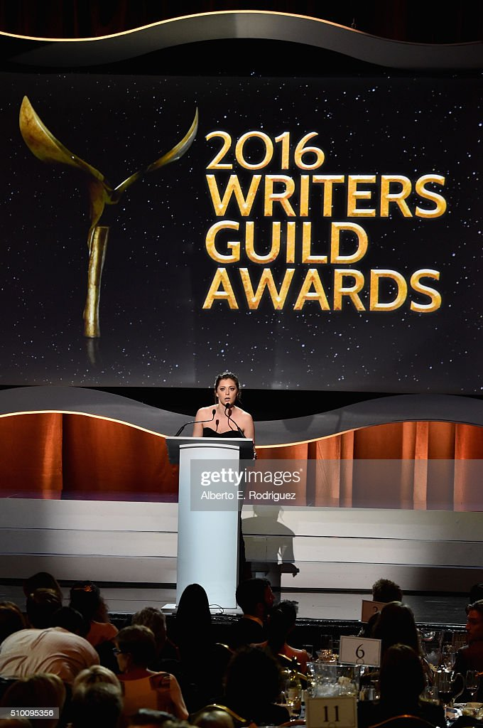 Writer/actress <a gi-track='captionPersonalityLinkClicked' href=/galleries/search?phrase=Rachel+Bloom&family=editorial&specificpeople=11358824 ng-click='$event.stopPropagation()'>Rachel Bloom</a> speaks onstage during the 2016 Writers Guild Awards at the Hyatt Regency Century Plaza on February 13, 2016 in Los Angeles, California.