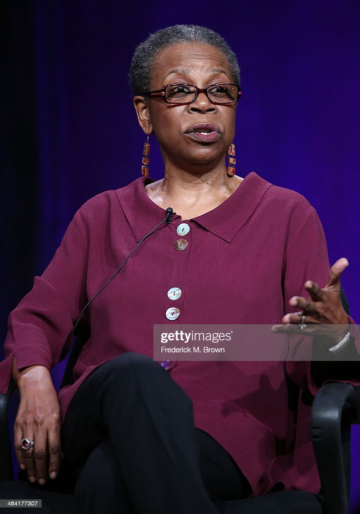 Writer/Author Lena Williams speaks onstage during the ' Independent Lens/'A Fragile Trust' 'panel discussion at the PBS portion of the 2014 Winter Television Critics Association tour at Langham Hotel on January 21, 2014 in Pasadena, California.
