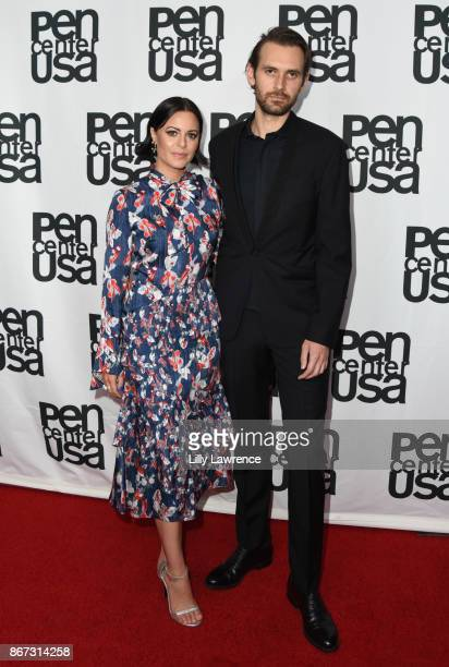 Writer/business woman Sophia Amoruso and writer/director Galen Pehrson arrive at PEN Center USA's 27th Annual Literary Awards Festival on October 27...