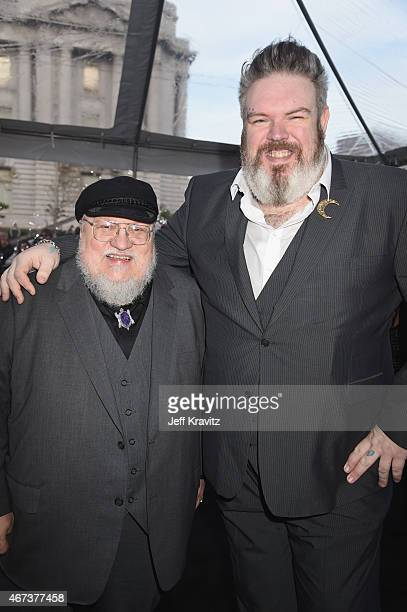 Writer/coexecutive producer George RR Martin and actor Kristian Nairn attend HBO's 'Game of Thrones' Season 5 Premiere and After Party at the San...