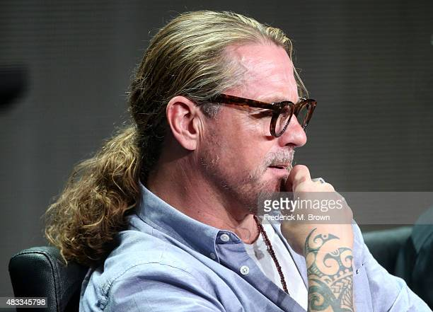 Writer/creator Kurt Sutter speaks onstage during 'The Bastard Executioner' panel discussion at the FX portion of the 2015 Summer TCA Tour at The...
