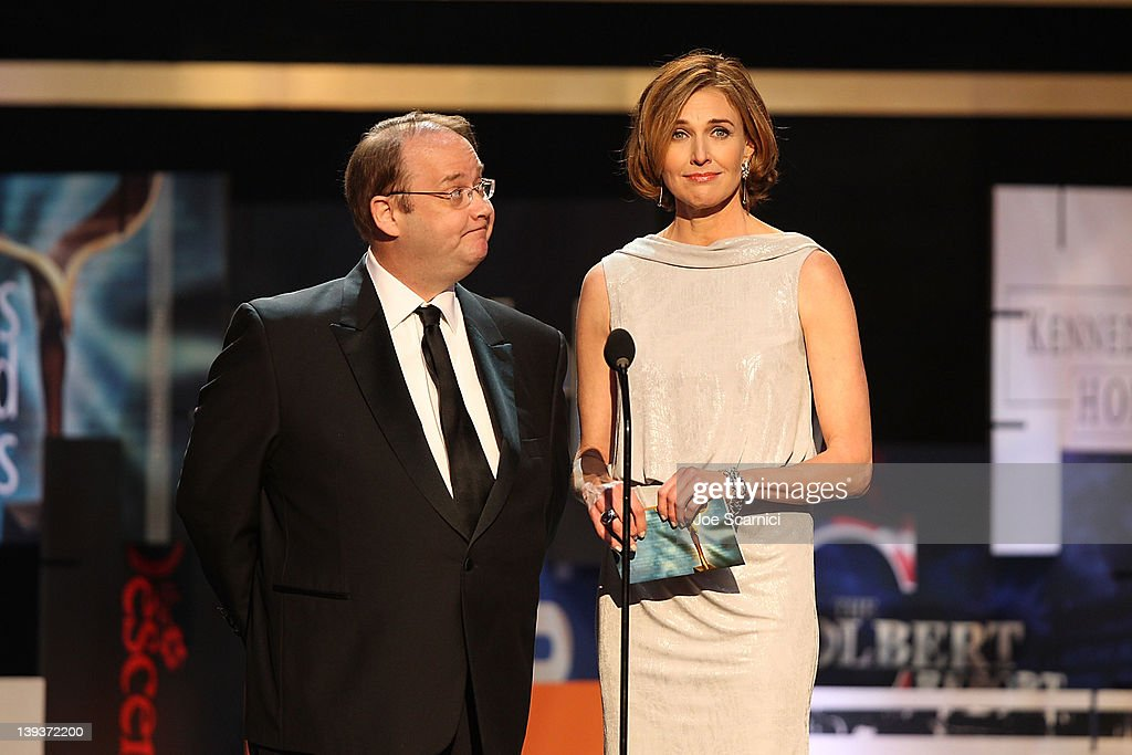 Writer/creator Marc Cherry and actress Brenda Strong speak onstage during the 2012 Writers Guild Awards at Hollywood Palladium on February 19 2012 in...