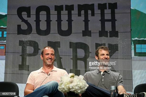 Writer/creators Trey Parker and Matt Stone speak onstage at the 'South Park' panel during the Hulu portion of the 2014 Summer Television Critics...
