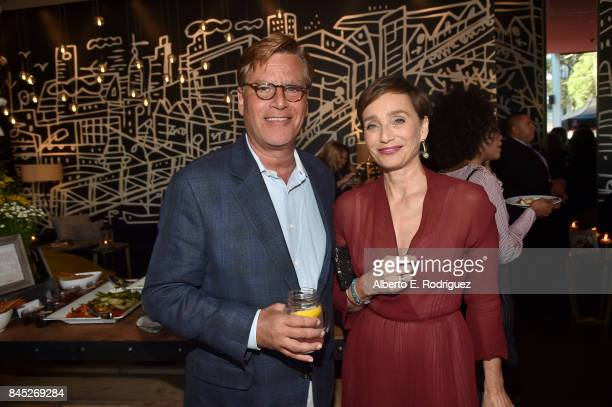 Writer/Director Aaron Sorkin and actress Kristin Scott Thomas attend Entertainment Weekly's Must List Party during the Toronto International Film...