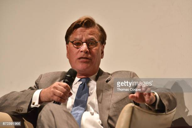 Writer/director Aaron Sorkin speaks during a discussion of 'Molly's Game' at the 40th Denver Film Festival on November 9 2017 in Denver Colorado