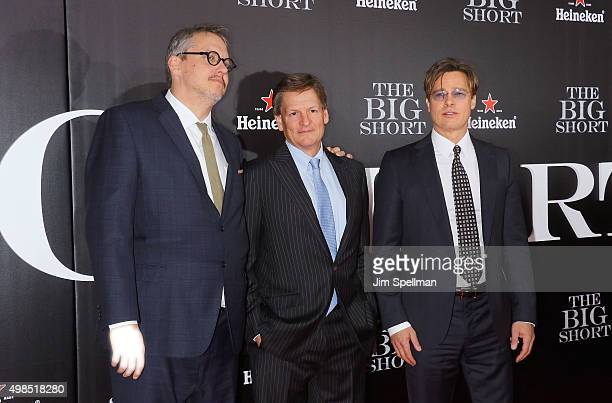 writer/director Adam McKay writer Michael Lewis and actor Brad Pitt attend the 'The Big Short' New York premiere at Ziegfeld Theater on November 23...