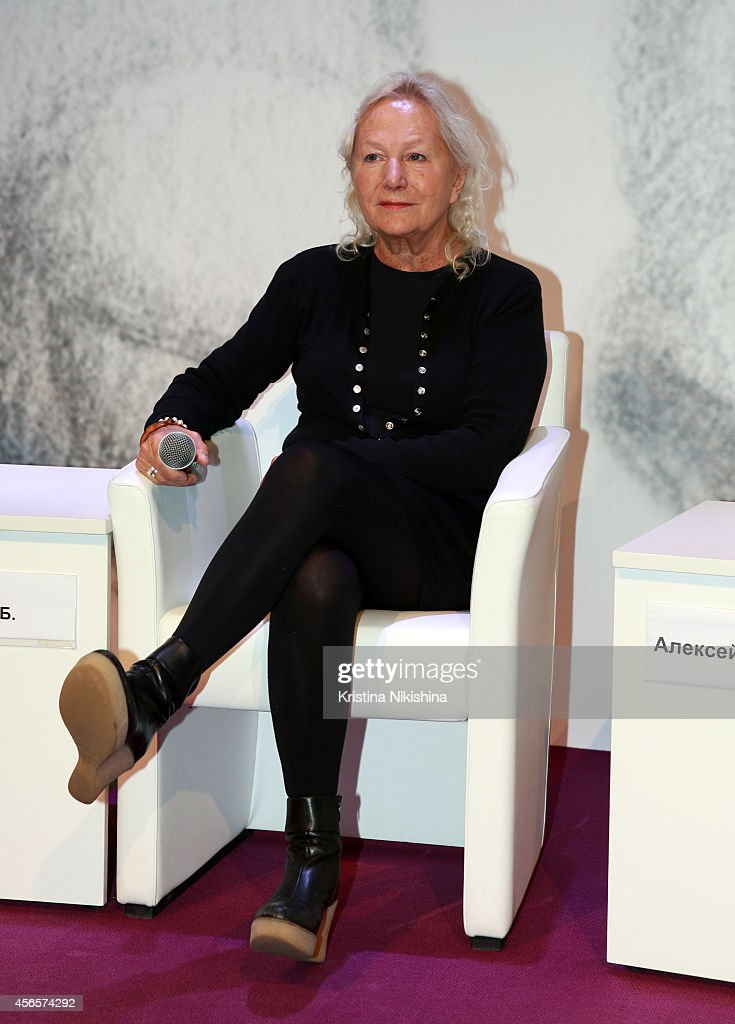 Writer/director Agnès B. attends the 'Je m'appelle Hmmm' press conference during the Saint Petersburg International Media Forum at the Old Stock Exchange on October 3, 2014 in Saint Petersburg, Russia.