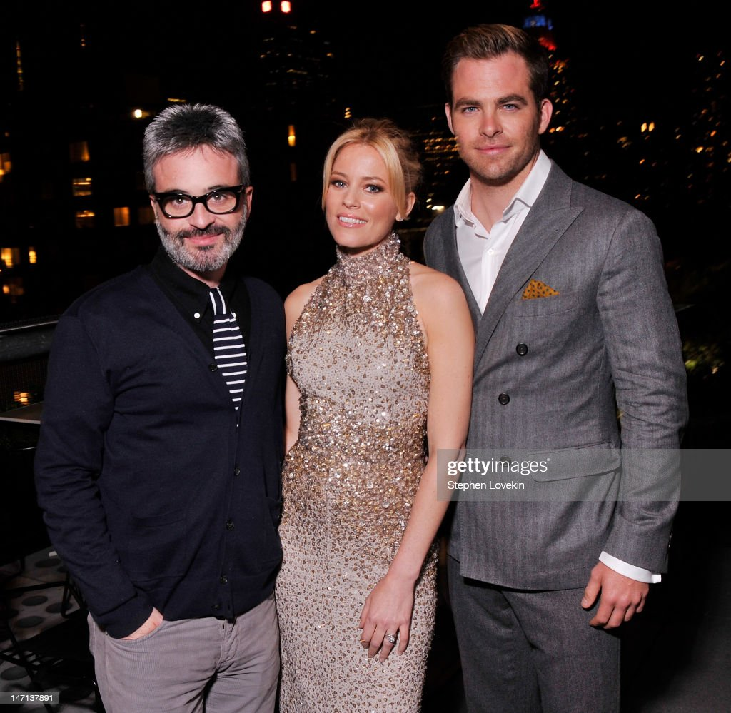 Writer/director Alex Kurtzman, actress Elizabeth Banks, and actor Chris Pine attend the after party for the Cinema Society with Linda Wells & Allure screening of DreamWorks Studios' 'People Like Us' at Hotel Americano on June 25, 2012 in New York City.