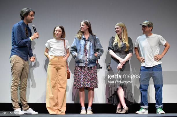 Writer/director Alex Ross Perry actors Emily Browning Analeigh Tipton Lily Rabe and Adam Horowitz appear on stage at 2017 Sundance NEXT FEST at The...