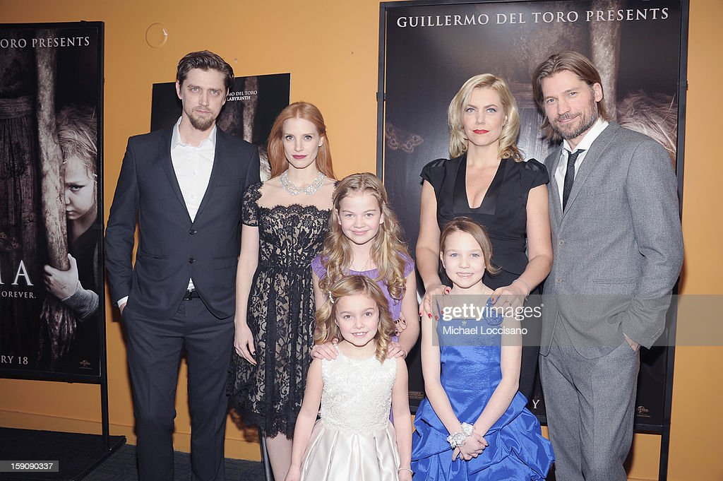 Writer/Director Andy Muschietti, actresses <a gi-track='captionPersonalityLinkClicked' href=/galleries/search?phrase=Jessica+Chastain&family=editorial&specificpeople=653192 ng-click='$event.stopPropagation()'>Jessica Chastain</a>, Megan Charpentier, Morgan McGarry (in front) and Isabelle Nelisse, producer Barbara Muschietti and actor Nikolaj Coster-Waldau attend the 'Mama' New York Screening at Landmark's Sunshine Cinema on January 7, 2013 in New York City.