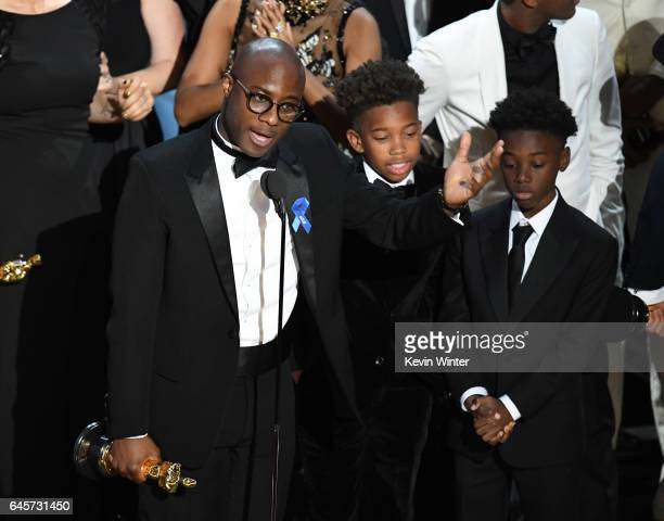 Writer/director Barry Jenkins actors Jaden Piner and Alex R Hibbert accept Best Picture for 'Moonlight' onstage during the 89th Annual Academy Awards...